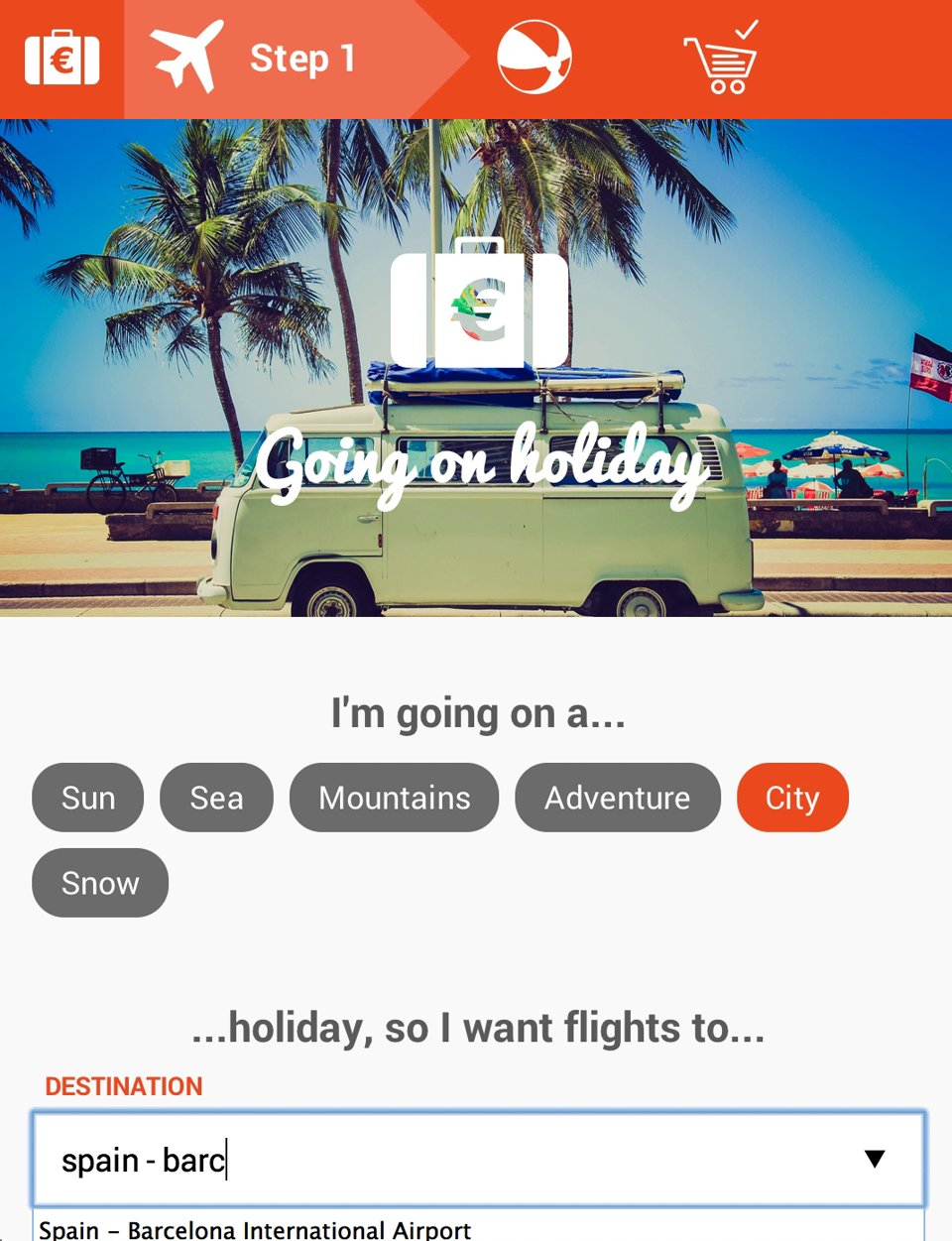 """Going on holiday"" app"