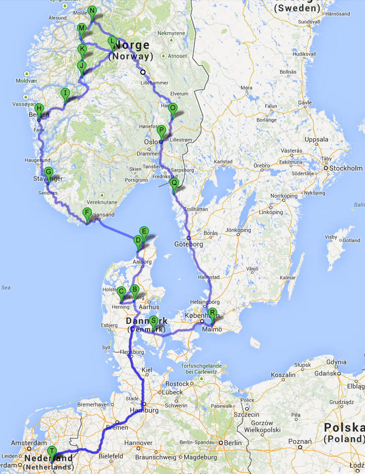 Route for the road trip